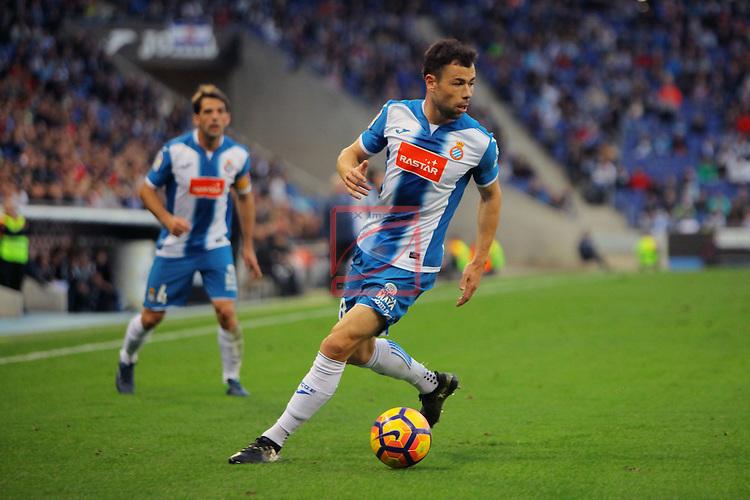 League Santander 2016/2017. Game: 11.<br /> RCD Espanyol vs Athletic Club: 0-0.<br /> Javi Fuego.