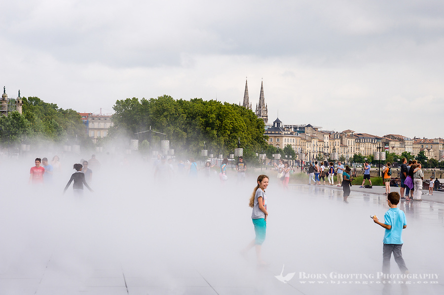 France, Bordeaux. Water mirror in front of Place de la Bourse.