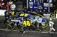 Feb 9, 2008; Daytona, FL, USA; Nascar Sprint Cup Series driver Jimmie Johnson (48) pits during the Bud Shootout at Daytona International Speedway. Mandatory Credit: Mark J. Rebilas-US PRESSWIRE