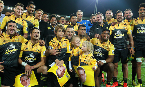 09.04.2016. Wellington, New Zealand.  Hurricanes team photo following their win during the Round 7 Super Rugby match, Hurricanes  versus Jaguares at Westpac Stadium, Wellington. 9th April 2016.