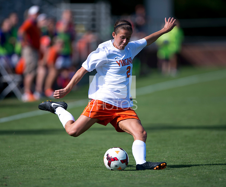 Kate Norbo (2) of Virginia crosses the ball at Klockner Stadium in Charlottesville, VA.  Virginia defeated Clemson, 3-0.