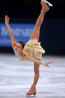 Sasha Cohen of USA performs a spiral on way to winning silver in ladies figure skating at the Trophee Eric Bompard competition in Paris, France, November 19, 2005.  (Photo/Tom Theobald)