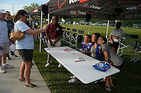 Kansas City, MO - Saturday May 07, 2016: FC Kansas City  forward Sydney Leroux signs autographs before the game against the Houston Dash. The Houston Dash defeated FC Kansas City 2-1 during a regular season National Women's Soccer League (NWSL) match at Swope Soccer Village.