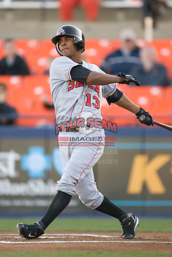 Cesar Quintero (13) of the Salem Avalanche follows through on his swing versus the Frederick Keys at Harry Grove Stadium in Frederick, MD, Tuesday, April 15, 2008.