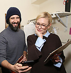 Josh Groban and Cate Blanchett during the cast of 'Hamilton' 2016 Door Decorating Competition at Richard Rodgers Theatre on December 23, 2016 in New York City.