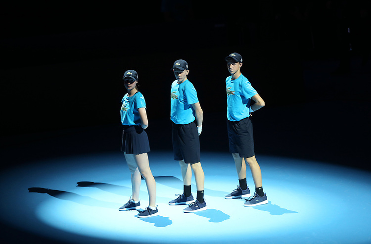 Ball boys and girls <br /> <br /> Photographer Rob Newell/CameraSport<br /> <br /> International Tennis - Nitto ATP World Tour Finals Day 2 - O2 Arena - London - Sunday 12th November 2018<br /> <br /> World Copyright © 2018 CameraSport. All rights reserved. 43 Linden Ave. Countesthorpe. Leicester. England. LE8 5PG - Tel: +44 (0) 116 277 4147 - admin@camerasport.com - www.camerasport.com