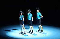 Ball boys and girls <br /> <br /> Photographer Rob Newell/CameraSport<br /> <br /> International Tennis - Nitto ATP World Tour Finals Day 2 - O2 Arena - London - Sunday 12th November 2018<br /> <br /> World Copyright &copy; 2018 CameraSport. All rights reserved. 43 Linden Ave. Countesthorpe. Leicester. England. LE8 5PG - Tel: +44 (0) 116 277 4147 - admin@camerasport.com - www.camerasport.com