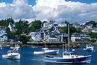 lobster boats, ME, Stonington, Maine, Deer Isle, Lobster boats buoyed in the harbor of the lobstering village of Stonington on Deer Isle on the Atlantic Ocean.