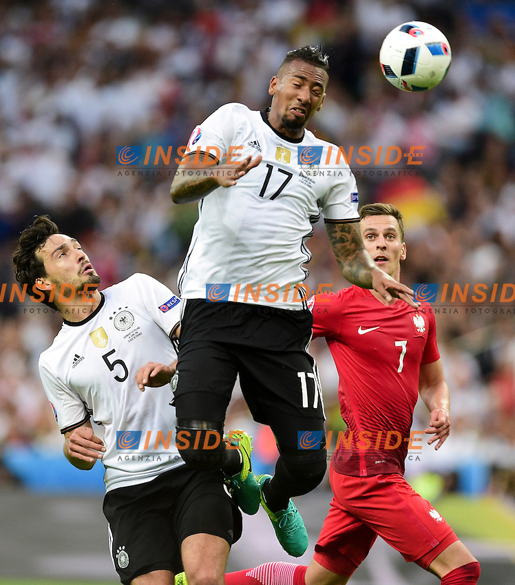 Jerome Boateng / Mats Hummels (ger) vs Arkadiusz Milik (Pol)  <br /> Paris 16-06-2016 Stade de France Football Euro2016 Germany - Poland / Germania - Polonia Group Stage Group C. Foto JB Autissier / Panoramic / Insidefoto