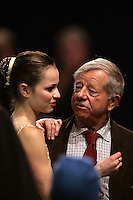 November 19, 2005; Paris, France; (L) Figure skating star SASHA COHEN of USA with (R) coach JOHN NICKS moments after leaving ice and skating to silver in ladies figure skating at Trophee Eric Bompard, ISU Paris Grand Prix competition.  Cohen is one of the favorites for medals in ladies at the Torino 2006 Olympics.<br />Mandatory Credit: Tom Theobald/<br />Copyright 2005 Tom Theobald