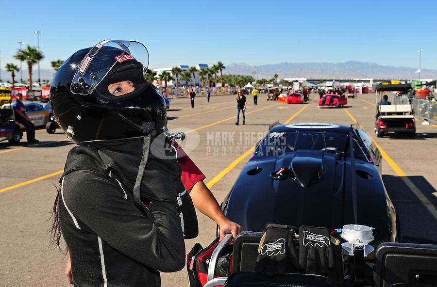 Oct. 28 2011; Las Vegas, NV, USA: NHRA pro mod driver Leah Pruett during qualifying for the Big O Tires Nationals at The Strip at Las Vegas Motor Speedway. Mandatory Credit: Mark J. Rebilas-