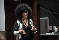Powerful, creative and brave, Lili Bernard is an artist, actor and activist and is Project S.A.F.E.'s keynote speaker for Take Back the Week. Lili told her powerful story to Oxy students, faculty and alums in Choi Auditorium and talked about the intersection of survivorship, art and political activism. Lili is a Cuban-born Los Angeles-based visual artist.<br /> April 5, 2017.<br /> (Marc Campos, Occidental College Photographer)