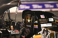 Apr 24, 2015; Baytown, TX, USA; Detailed view of the back of the canopy cockpit of NHRA  top fuel driver Tony Schumacher during qualifying for the Spring Nationals at Royal Purple Raceway. Mandatory Credit: Mark J. Rebilas-