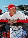 8 March 2006: Brandon Harper, catcher for the Washington Nationals, in the dugout prior to a Spring Training game against the St. Louis Cardinals. The Cardinals defeated the Nationals 7-4 in 10 innings at Space Coast Stadium, in Viera, Florida...Mandatory Photo Credit: Ed Wolfstein.
