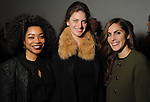 From left: Gabrielle Sauls, Molly Jodeit and Briana Buxbaum at the Light as Air Fashion show with leather fashions by Jose Sanchez and performances by Vault with Choreography by Amy Eli at Vault Houston Saturday Jan.10, 2015.(Dave Rossman For the Chronicle)