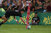 PRETORIA, SOUTH AFRICA - OCTOBER 06: Rieko Ioane of the New Zealand (All Blacks) going over for a try during the Rugby Championship match between South Africa Springboks and New Zealand All Blacks at Loftus Versfeld Stadium. on October 6, 2018 in Pretoria, South Africa.  Photo: Steve Haag / stevehaagsports.com