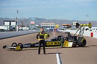 Feb 19, 2015; Chandler, AZ, USA; NHRA top fuel driver Richie Crampton poses for a portrait prior to the Carquest Nationals at Wild Horse Pass Motorsports Park. Mandatory Credit: Mark J. Rebilas-