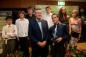 Sir John Walker with the Junior Team of the Year, Mountfort Park Under 12 Waterpolo. Inaugural Wiri Licensing Trust Manurewa Sports Awards held at the Weymouth Cosmopolitan Club on Sunday April 11th 2010.