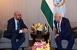 Palestinian President Mahmoud Abbas, meets with Prime Minister of Belgium in New York, United States on September 24, 2019. Photo by Thaer Ganaim