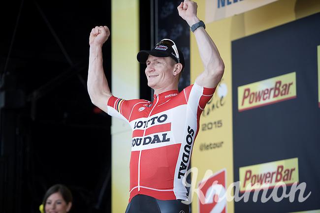 "stage winner (and new green jersey leader) André ""The Gorilla"" Greipel (DEU/Lotto-Soudal) on the podium<br /> <br /> stage 2: Utrecht - Neeltje Jans (166km)<br /> 2015 Tour de France"