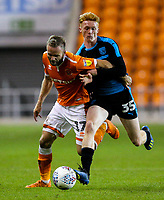 Blackpool's Ryan McLaughlin is fouled by West Bromwich Albion U21&rsquo;s Callum Morton<br /> <br /> Photographer Alex Dodd/CameraSport<br /> <br /> The EFL Checkatrade Trophy Northern Group C - Blackpool v West Bromwich Albion U21 - Tuesday 9th October 2018 - Bloomfield Road - Blackpool<br />  <br /> World Copyright &copy; 2018 CameraSport. All rights reserved. 43 Linden Ave. Countesthorpe. Leicester. England. LE8 5PG - Tel: +44 (0) 116 277 4147 - admin@camerasport.com - www.camerasport.com