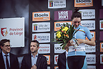 Sofia Bertizzolo (ITA) Astana Womens Team on the podium at the end of the 2018 Liege-Bastogne-Liege Femmes running 136km from Bastogne to Ans, Belgium. 22nd April 2018.<br /> Picture: ASO/Thomas Maheux | Cyclefile<br /> All photos usage must carry mandatory copyright credit (&copy; Cyclefile | ASO/Thomas Maheux)