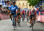 Richard Carapaz (ECU) Movistar Team outsprints Caleb Ewan (AUS) Lotto-Soudal to win Stage 4 of the 2019 Giro d'Italia, running 235km from Orbetello to Frascati, Italy. 14th May 2019<br /> Picture: Gian Mattia D'Alberto/LaPresse | Cyclefile<br /> <br /> All photos usage must carry mandatory copyright credit (© Cyclefile | Gian Mattia D'Alberto/LaPresse)
