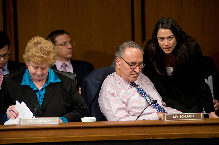 WASHINGTON, DC - Sept. 30: Sen. Debbie Stabenow, D-Mich., and Sen. Charles E. Schumer, D-N.Y., during the Senate Finance markup of a health care overhaul bill. (Photo by Scott J. Ferrell/Congressional Quarterly)