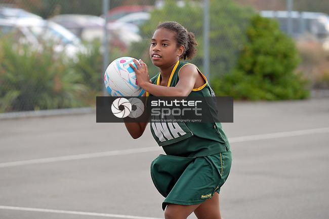 NELSON, NEW ZEALAND - April 25: Netball, <br /> Geraldine Hodgson Tournament, April 25 2015, Saxton Netball Courts, Nelson, New Zealand. (Photo by: Barry Whitnall Shuttersport Limited)