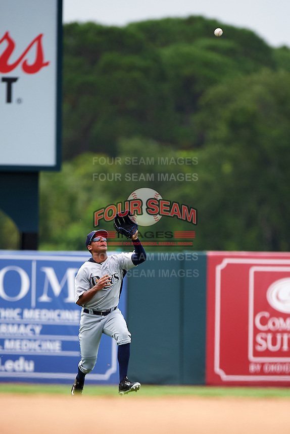 GCL Rays outfielder Garrett Whitley (20) catches a fly ball during the first game of a doubleheader against the GCL Orioles on August 1, 2015 at the Ed Smith Stadium in Sarasota, Florida.  GCL Orioles defeated the GCL Rays 2-0.  (Mike Janes/Four Seam Images)