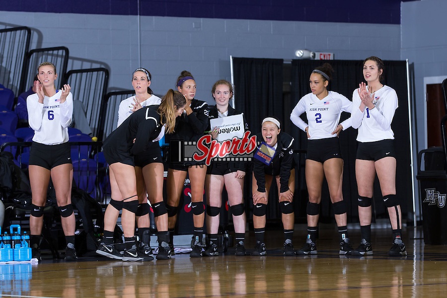 The High Point Panthers bench roots for their teammates during the match against the Wake Forest Demon Deacons at the Panther Invitational at the Millis Athletic Center on September 12, 2015 in High Point, North Carolina.  The Demon Deacons defeated the Panthers 3-1.   (Brian Westerholt/Sports On Film)
