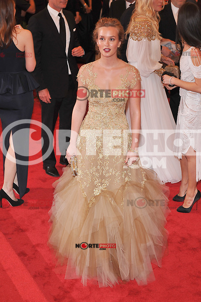 Leighton Meester at the 'Schiaparelli And Prada: Impossible Conversations' Costume Institute Gala at the Metropolitan Museum of Art on May 7, 2012 in New York City. ©mpi03/MediaPunch Inc.