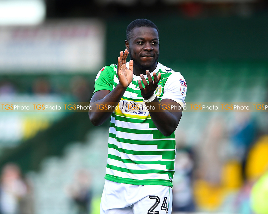 Olufela Olomola of Yeovil Town applauds the home fans during Yeovil Town vs Accrington Stanley, Sky Bet EFL League 2 Football at Huish Park on 12th August 2017
