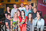 5622-5626.---------.Bon Voyage: Michelle Daly, Keel (front centre) enjoying a final night out in Baily's Corner, Castle St, Tralee with work colleagues from TPS Monavalley Industrial Est, Tralee as she is emmigrating to Abu Dhabi, Friday night on front l-r: Sinead O'Carroll, Pauline Fitzmaurice, Vita Hartnett, Michelle Daly, Mairead Dore and Claire Costelloe. Back l-r: Carmel Dwyer, Johnny O'Regan, Jason Fitzmaurice, Ernie Linnane, Denis O'Keeffe and Egidijus Bagdonas.
