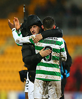 29th January 2020; McDairmid Park, Perth, Perth and Kinross, Scotland; Scottish Premiership Football, St Johnstone versus Celtic; Leigh Griffiths of Celtic hugs Greg Taylor of Celtic after the match