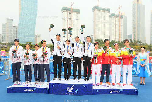 Japan team group (JPN), <br /> SEPTEMBER 26, 2014 - Triathlon : <br /> Mixed Relay Victory Ceremony <br /> at Songdo Central Park Triathlon Venue <br /> during the 2014 Incheon Asian Games in Incheon, South Korea. <br /> (Photo by Yohei Osada/AFLO SPORT)