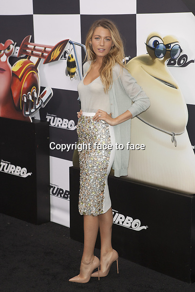 NEW YORK, NY - JULY 9: Blake Lively attends the 'Turbo' premiere at AMC Loews Lincoln Square on July 9, 2013 in New York City.<br />