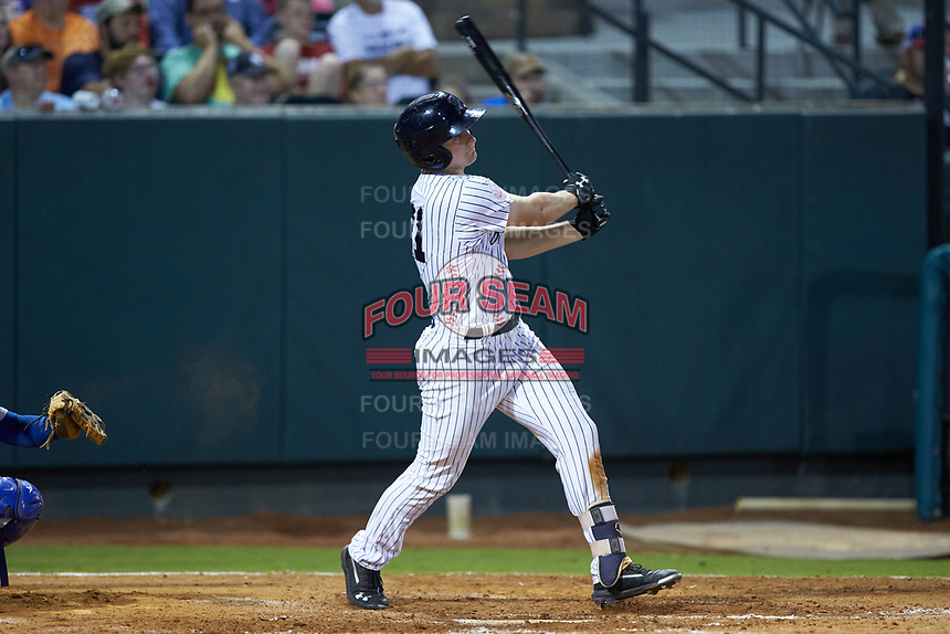 Ryder Green (21) of the Pulaski Yankees follows through on a home run against the Burlington Royals at Calfee Park on August 31, 2019 in Pulaski, Virginia. The Yankees defeated the Royals 6-0. (Brian Westerholt/Four Seam Images)
