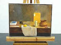 """Sanchez: Light Bulb, Vase, Lemon, Digital Print, Image Dims. 26"""" x 33.4"""", Framed Silver Leaf"""