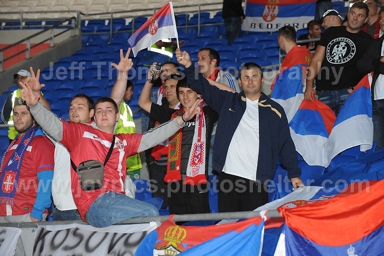 The Serbian fans are in good spirits at the Wales v Serbia FIFA World Cup 2014 Qualifier match at Cardiff City Stadium, Cardiff, Wales -Tuesday 10th Sept 2014. All images are the copyright of Jeff Thomas Photography-07837 386244-www.jaypics.photoshelter.com