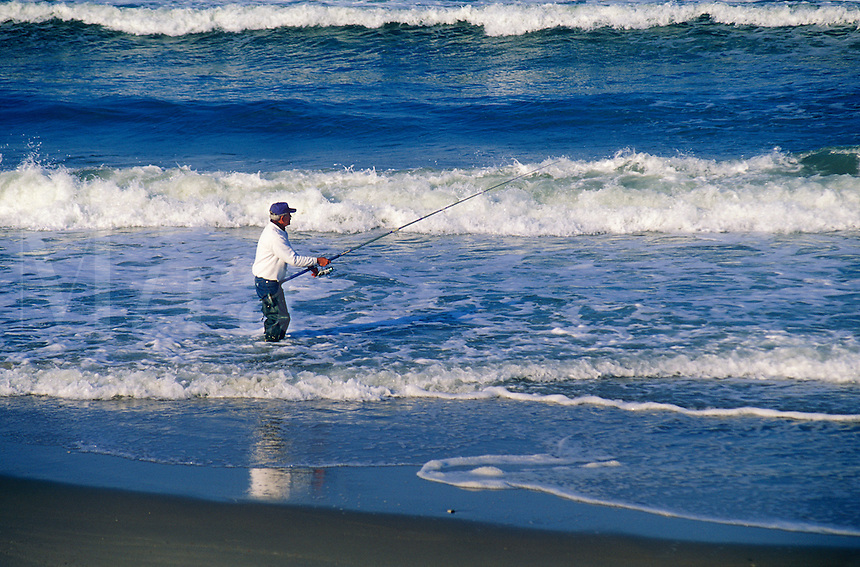 Surf fishing at Nauset beach, Orleans, Cape Cod National seashore, MA