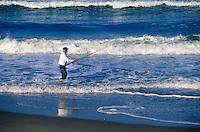 Surf fishing at Nauset beach, Orleans, Cape Cod National seashore, MA