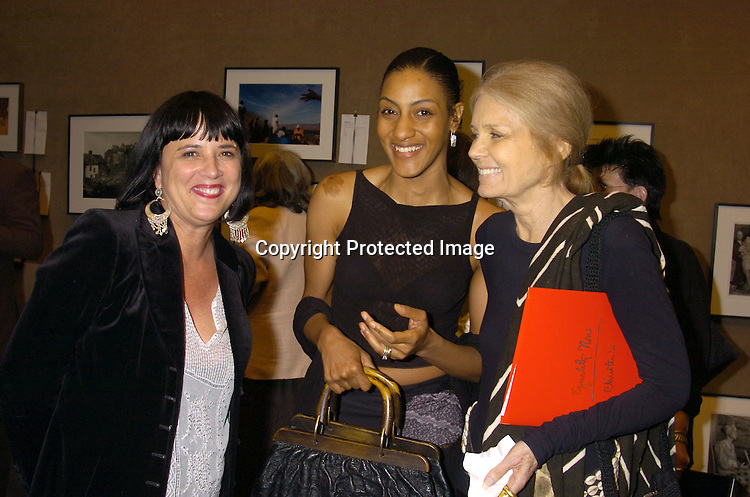 Eve Ensler, Sarah Jones and Gloria Steinem ..at a Photography Auction to Benefit Equality Now on June 20, 2005 at Christies. ..Photo By Robin Platzer, Twin Images