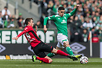 13.04.2019, Weserstadion, Bremen, GER, 1.FBL, Werder Bremen vs SC Freiburg<br /> <br /> DFL REGULATIONS PROHIBIT ANY USE OF PHOTOGRAPHS AS IMAGE SEQUENCES AND/OR QUASI-VIDEO.<br /> <br /> im Bild / picture shows<br /> Janik Haberer (SC Freiburg #19) im Duell / im Zweikampf mit Milot Rashica (Werder Bremen #11), <br /> <br /> Foto &copy; nordphoto / Ewert