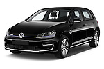 2015 Volkswagen GOLF e-Golf 5 Door Hatchback 2WD Angular Front stock photos of front three quarter view