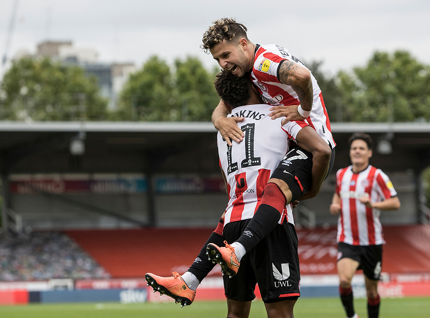 Brentford's Ollie Watkins (left) celebrates scoring his side's first goal with team mate Emiliano Marcondes <br /> <br /> Photographer Andrew Kearns/CameraSport<br /> <br /> The EFL Sky Bet Championship - Brentford v Preston North End - Wednesday 15th July 2020 - Griffin Park - Brentford <br /> <br /> World Copyright © 2020 CameraSport. All rights reserved. 43 Linden Ave. Countesthorpe. Leicester. England. LE8 5PG - Tel: +44 (0) 116 277 4147 - admin@camerasport.com - www.camerasport.com