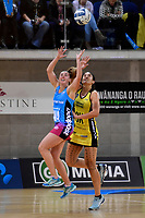 Steel's Gina Crampton and Pulse&rsquo; Sulu Fitzpatrick in action during the ANZ Premiership - Pulse v Steel at Te Rauparaha Arena, Porirua, New Zealand on Wednesday 30 May 2018.<br /> Photo by Masanori Udagawa. <br /> www.photowellington.photoshelter.com