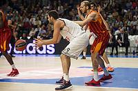 Real Madrid´s Felipe Reyes and Galatasaray´s Guler during 2014-15 Euroleague Basketball match between Real Madrid and Galatasaray at Palacio de los Deportes stadium in Madrid, Spain. January 08, 2015. (ALTERPHOTOS/Luis Fernandez) /NortePhoto /NortePhoto.com