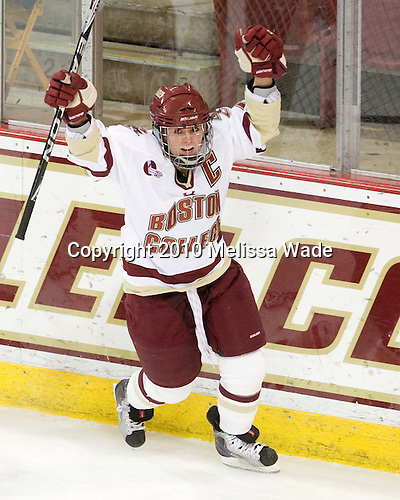Kelli Stack (BC - 16) celebrates the first of her three goals scored 7:51 into the first period. - The Boston College Eagles defeated the visiting Harvard University Crimson 6-2 on Sunday, December 5, 2010, at Conte Forum in Chestnut Hill, Massachusetts.