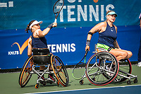 Amstelveen, Netherlands, 22 Augustus, 2020, National Tennis Center, NTC, NKR, National  Wheelchair Tennis Championships, Woman's doubles final  final : Marjolein Buis (NED) (L) and Michaela Spaanstra (NED)   <br /> Photo: Henk Koster/tennisimages.com